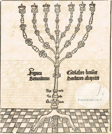 מנורת בית המקדש מתוך ספרו של Schedel משנת 1493 Nuremberg Chronicle